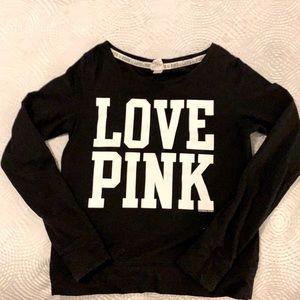 Victoria's Secret PINK Logo Black Sweatshirt Small
